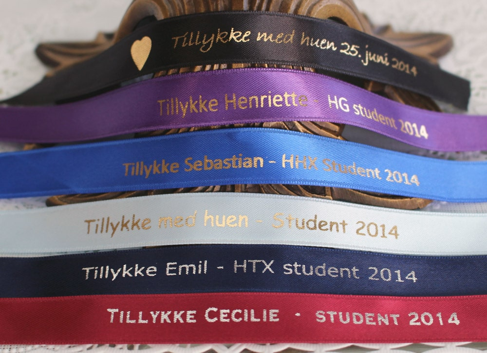 Båndfarver til studenten: A-niveau, STX, HTX, HHX, HG, HF