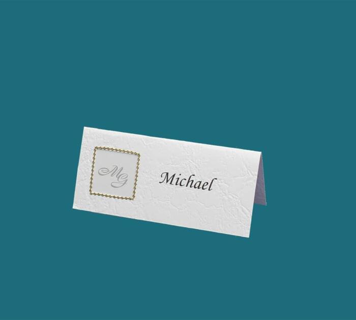 bordkort med monogram i guldramme
