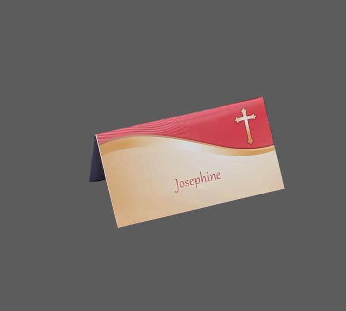 Bordkort med guld kors