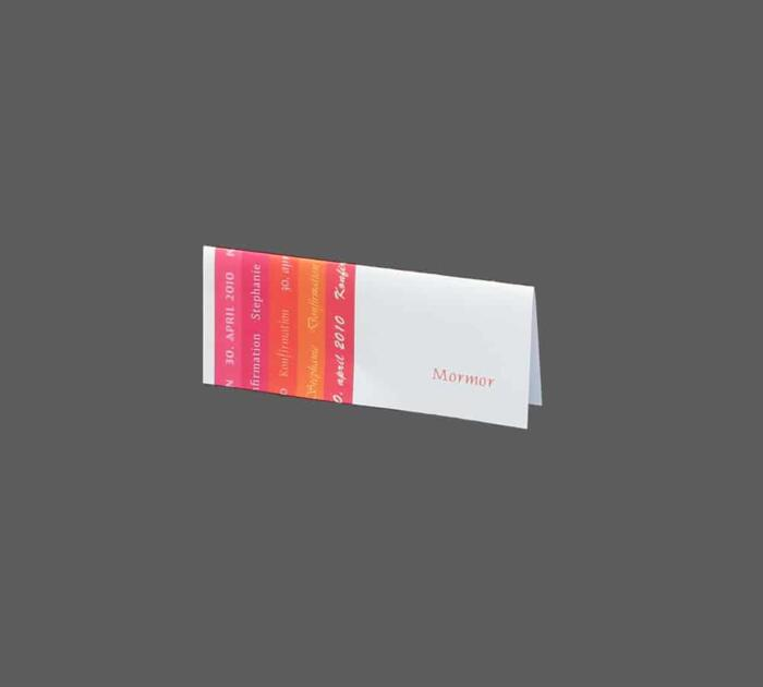 Bordkort pink/orange konfirmation