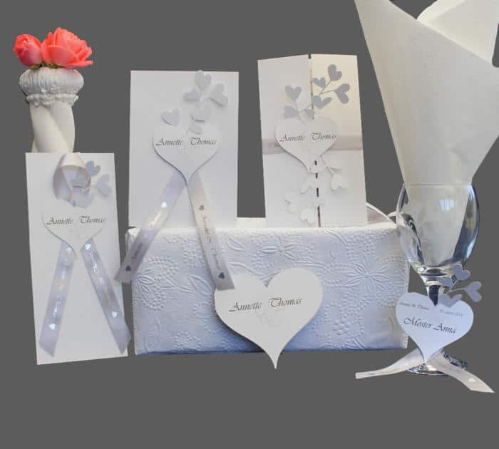 bryllupskort komplet serie med hjerter