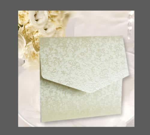 kuvertkort med præget ornamentik