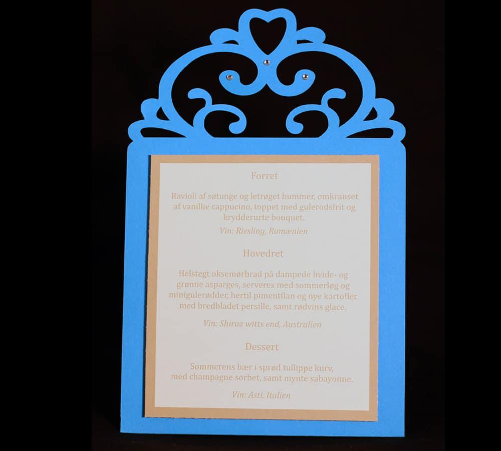 menukort i blåt og brunt (farven kan ændres)