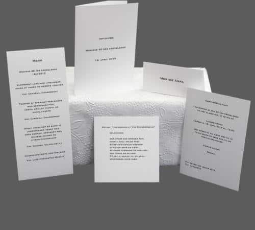 fødselsdag - enkle invitationer, menukort, bordkort, velkomstsang - påtrykt tekst