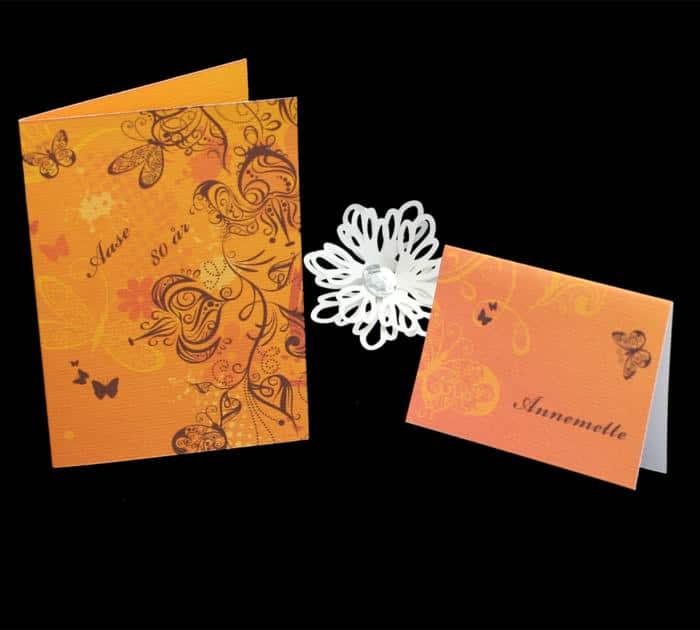 sommerfugle tema i orange nuancer