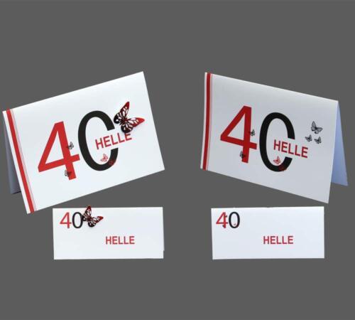 fødseldagskort med enten printede eller påsatte sommerfugle