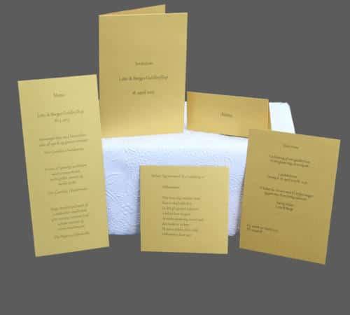 guldbryllup - invitation, menukort, bordkort, velkomstsang - påtrykt tekst