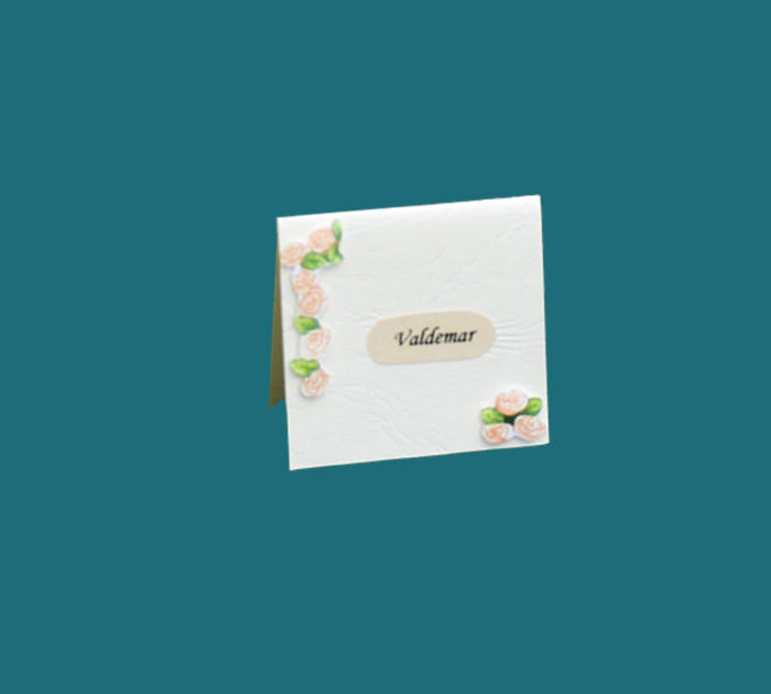 enkelt bordkort til guldbryllup, præget karton og påsat blomserranke