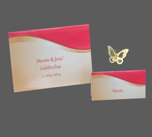 guldbryllupskort i rødt og guld print