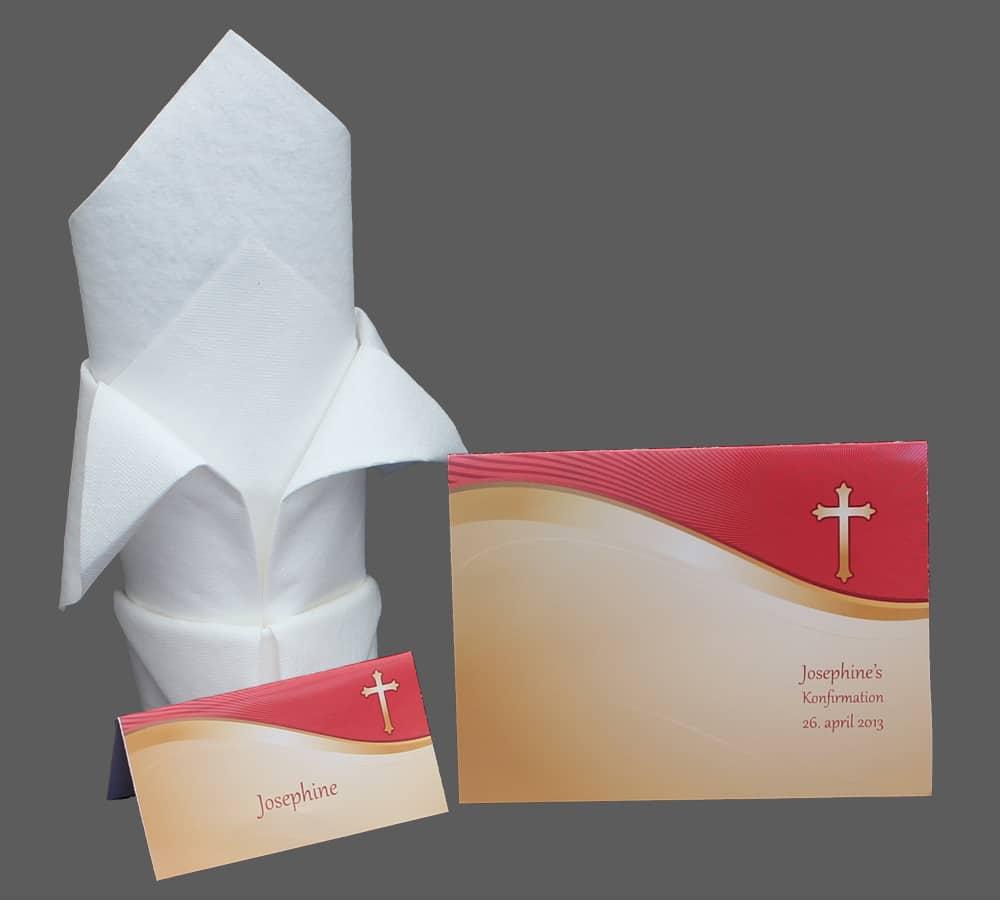 Invitation og bordkort i guld og rød