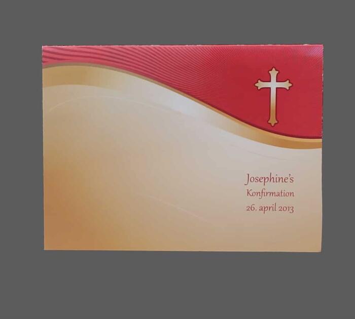 Invitation el. menukort guld og rød