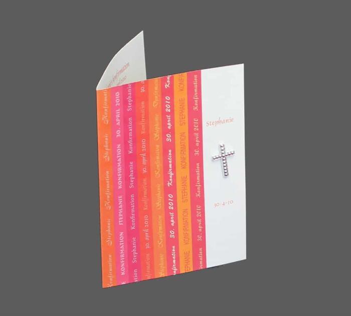 Invitation med pink og orange striber