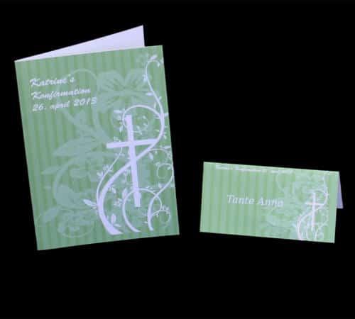 Stribet menukort og bordkort - grønt