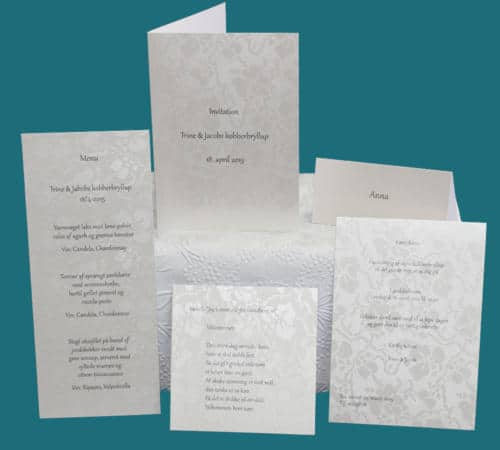 kobberbryllup - invitation, menukort, bordkort, velkomstsang - påtrykt tekst
