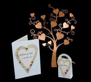 kobberbryllupsinvitation, menukort og bordkort med perler
