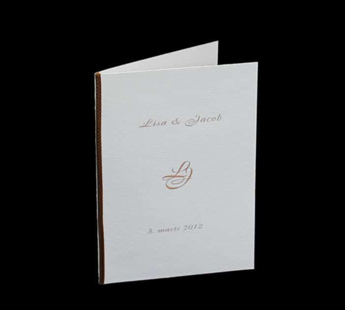 invitation el. menukort til kobberbryllup med monogram