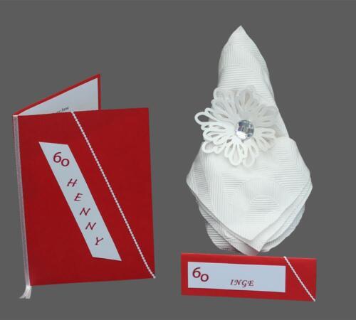fødselsdagskort i rødt og hvidt med fødselarens navn og årstal