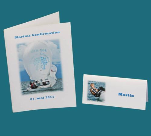 Menukort / invitation og bordkort med konfirmandens hobby