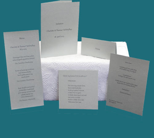 sølvbryllup - stilrene invitationer, menukort, bordkort, velkomstsang - påtrykt tekst