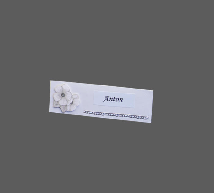 bordkort til sølvbryllup med 3D blomst og sølvfolie