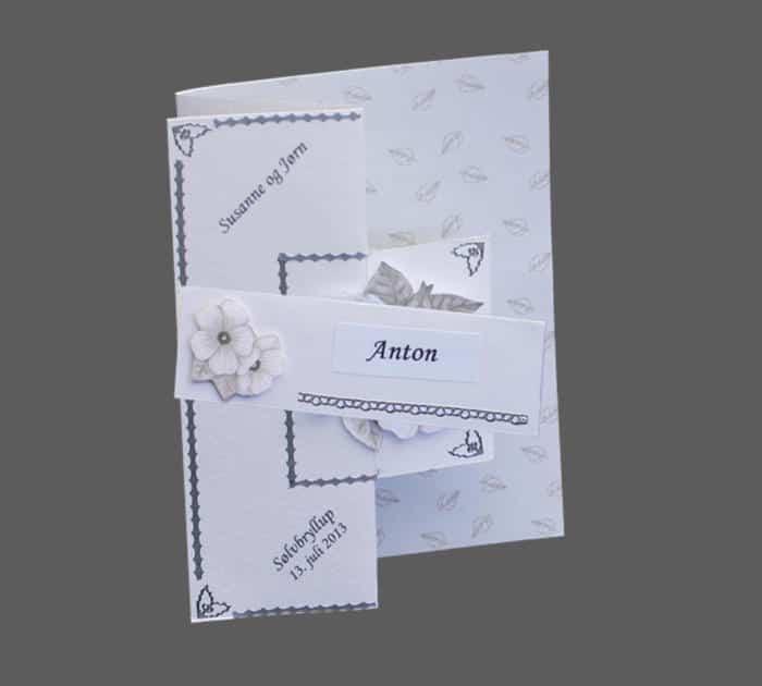 foldekort til sølvbryllup med 3D blomst og sølvborter