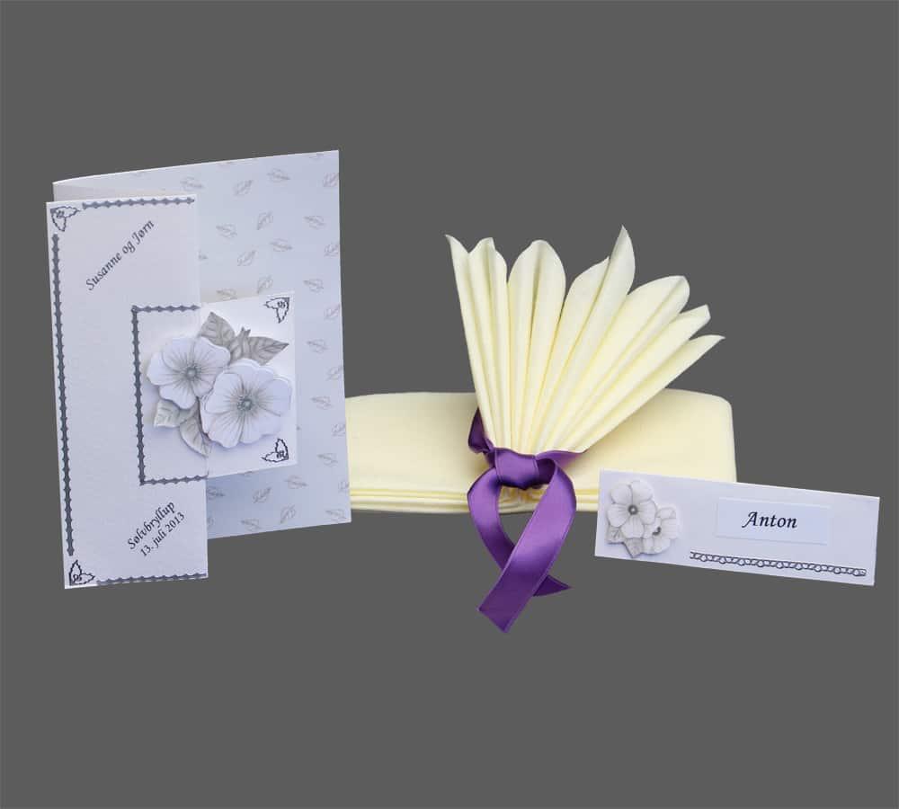 sølvbryllups menukort og bordkort med 3D blomst