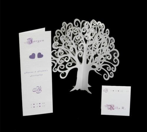 menukort og bordkort til sølvbryllup i lilla og hvidt