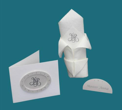 invitation, menukort og bordkort i hvidt med rhinsten og monogram
