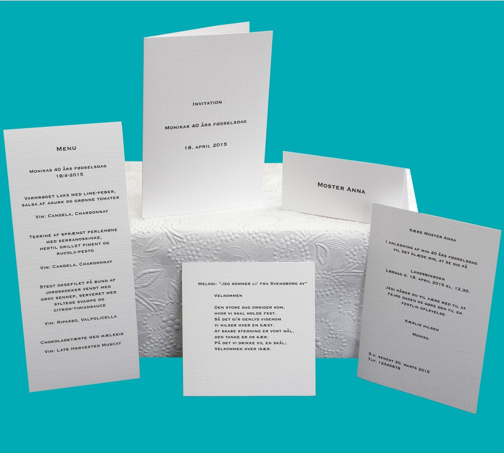 Enkle invitationer, bordkort, menukort til fødselsdag