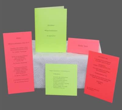 Enkle invitationer, bordkort, menukort til konfirmation