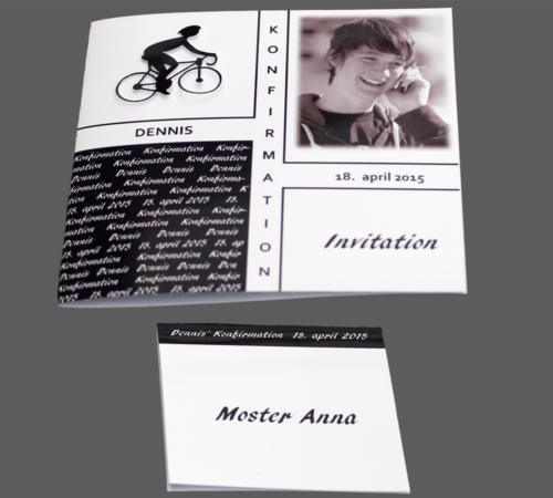 Konfirmationskort dreng med cykelrytter