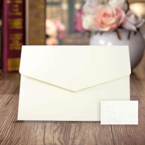 Pocketkort struktur linned hvid