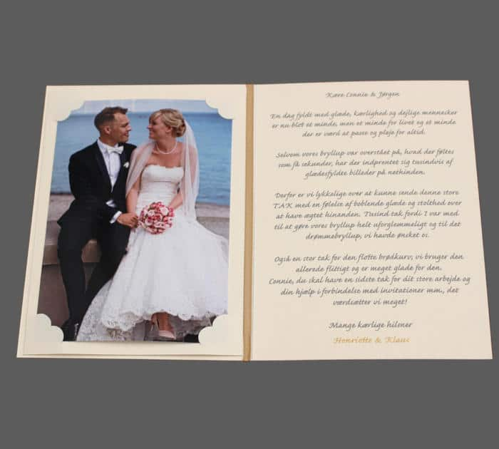 Takkekort bryllup med foto