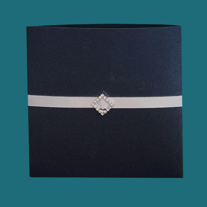 Silkebånd med firkantet (harlekin) spænde i rhinsten