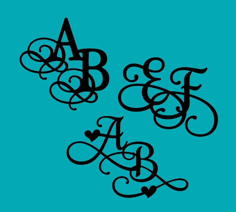 Udskåret monogram i guld, sølv, kobber