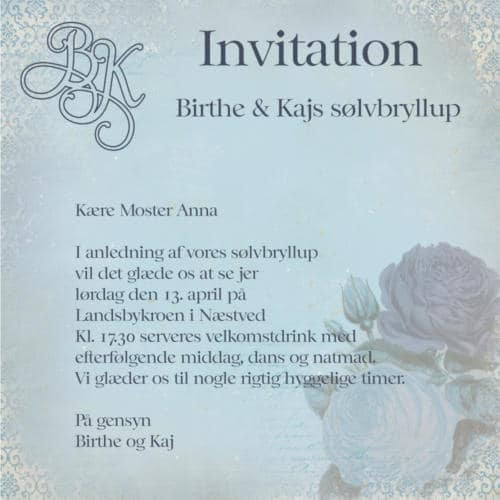 Email invitation med monogram og blomst
