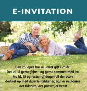 Email-invitation sølvbryllup