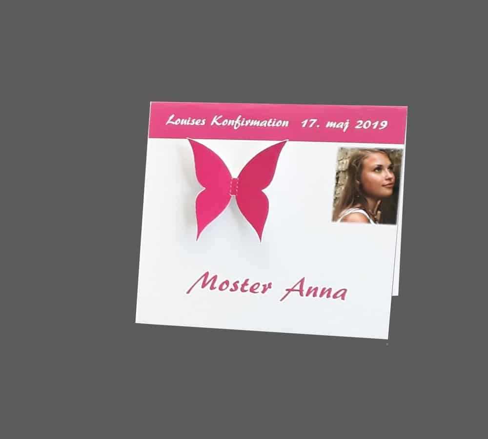 bordkort til konfirmation med sommerfugl eller hobby