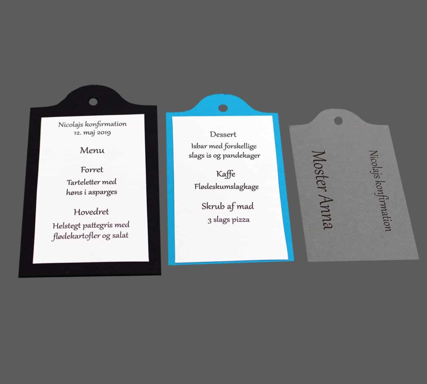 kuffertmærker / Manilla mærker, som menukort eller invitation