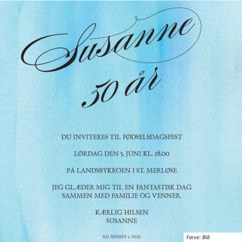 E-invitation med flot skrift på blå baggrund