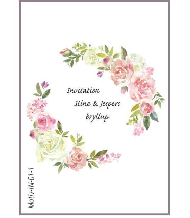Invitation med roser - Motiv IN-01-1
