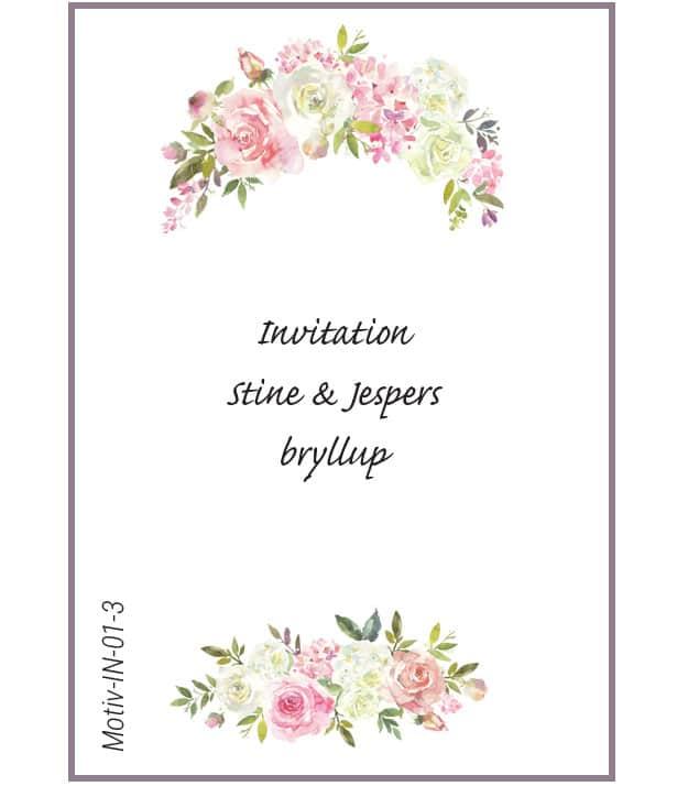 Invitation med roser - Motiv IN-01-3