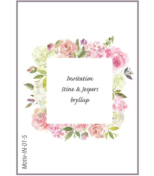 Invitation med roser - Motiv IN-01-5