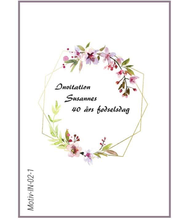 Invitation med kirsebærblomst - Motiv IN-02-1