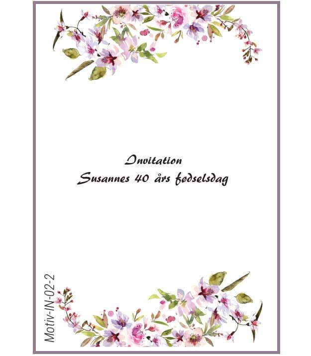 Invitation med kirsebærblomst - Motiv IN-02-2