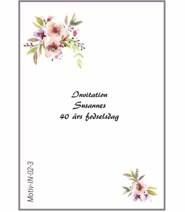 Invitation med kirsebærblomst - Motiv IN-02-3