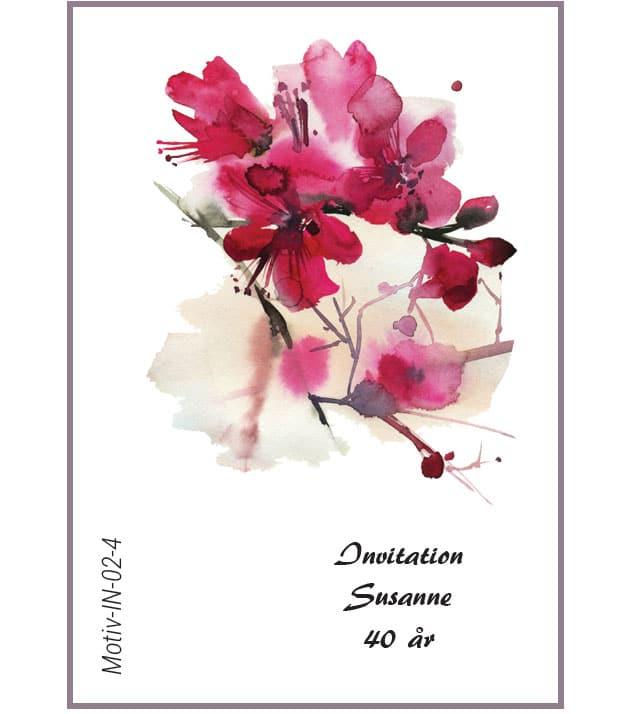 Invitation med kirsebærblomst - Motiv IN-02-4