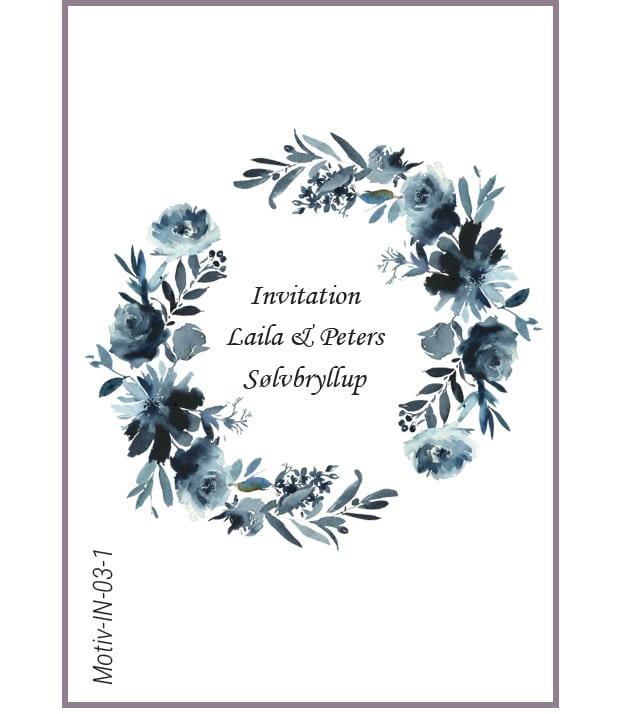Invitation med blomsterkrans