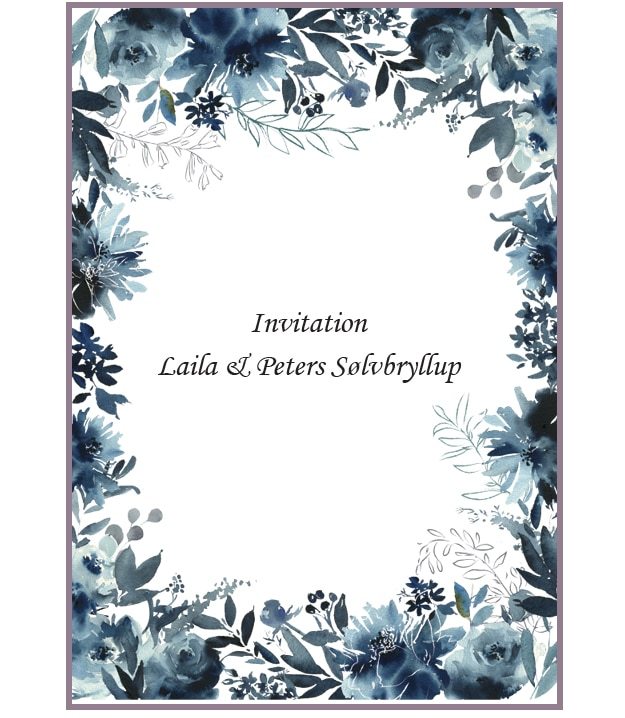 Blomsterkort med blå blomster
