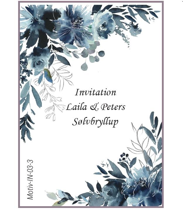 Invitation med blå pæoner